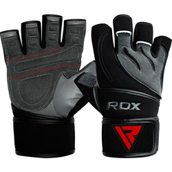 Gym Glove Leather Gray Black