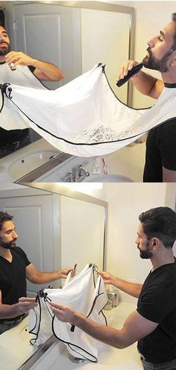 man bathroom beard tablier barbe de beard shapper. Black Bedroom Furniture Sets. Home Design Ideas